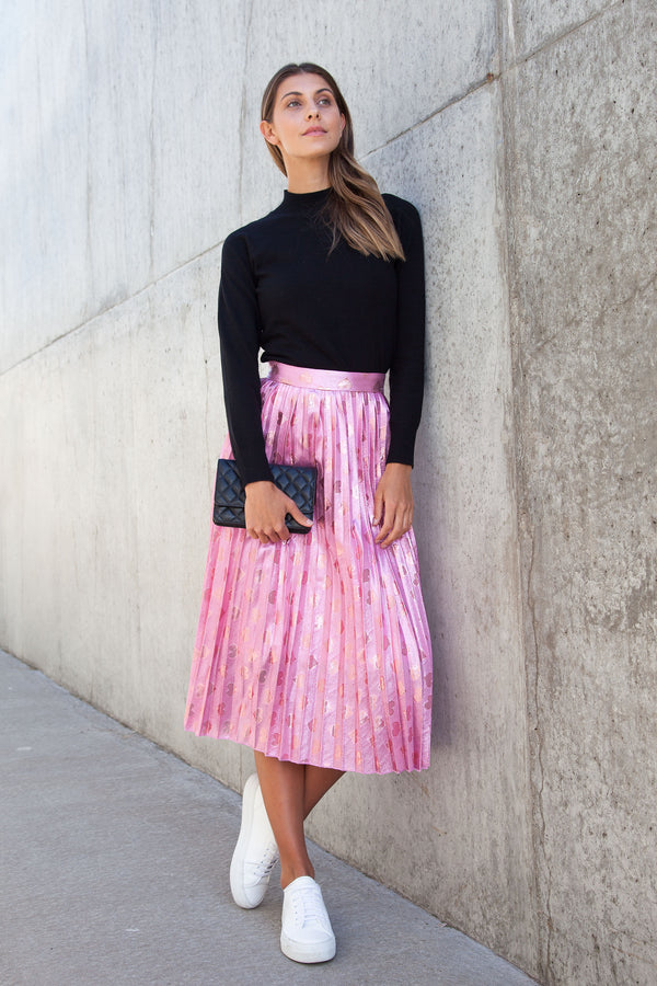 Pale Pink Shimmer Heart Pleated Midi Skirt