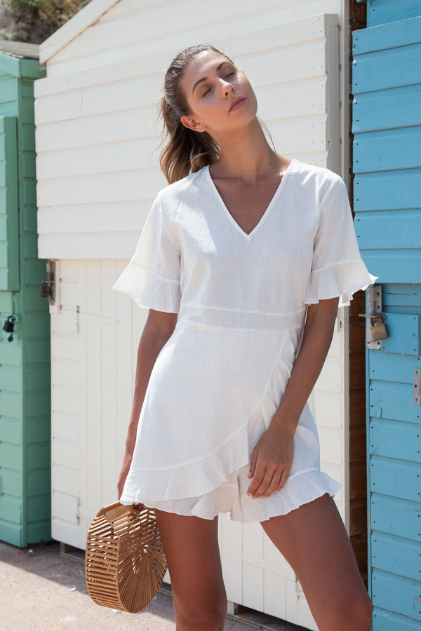 White Linen Frill Short Sleeve Playsuit
