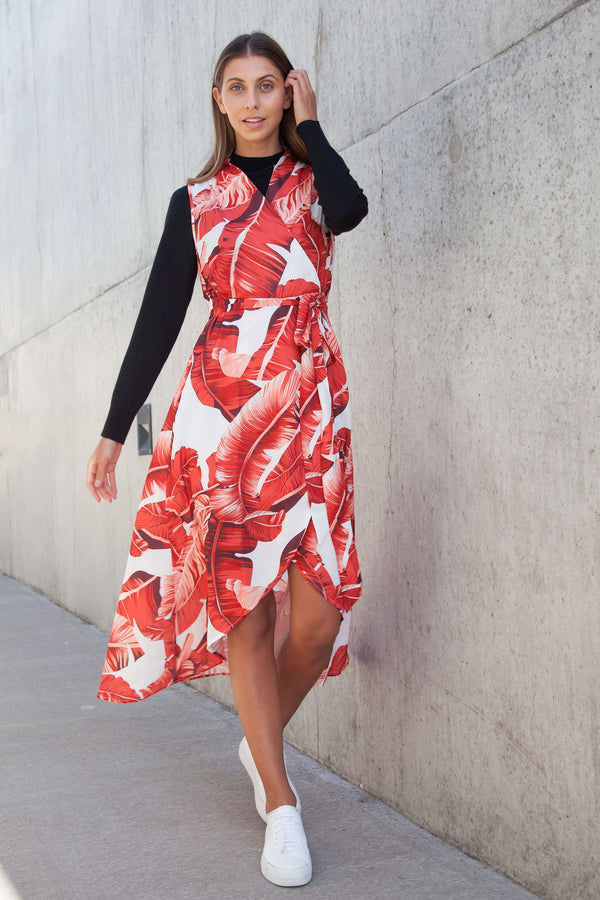 Red Palm Leaf Wrap Style Hi/Lo Dress