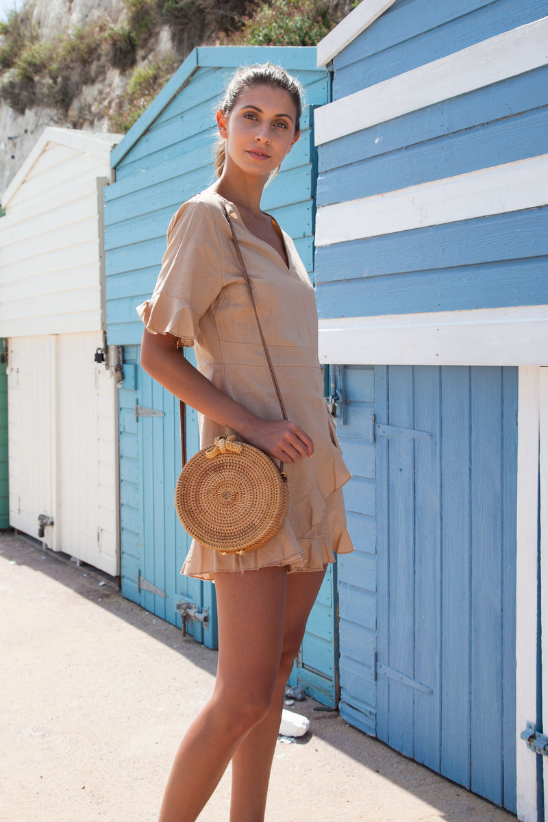 Beige Linen Frill Short Sleeve Playsuit
