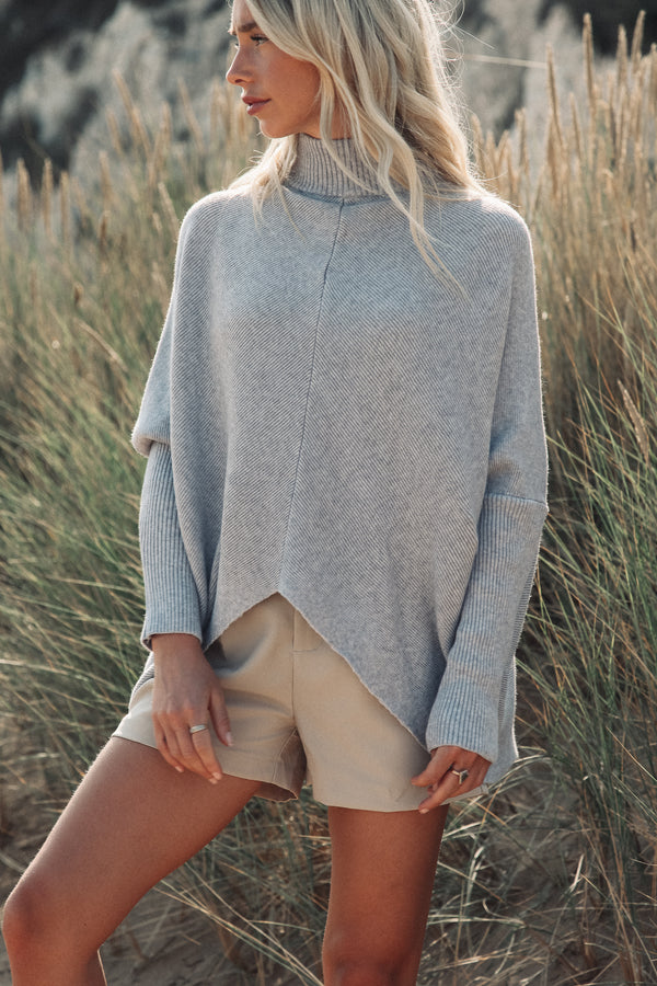 Soft Light Grey High Neck Jumper