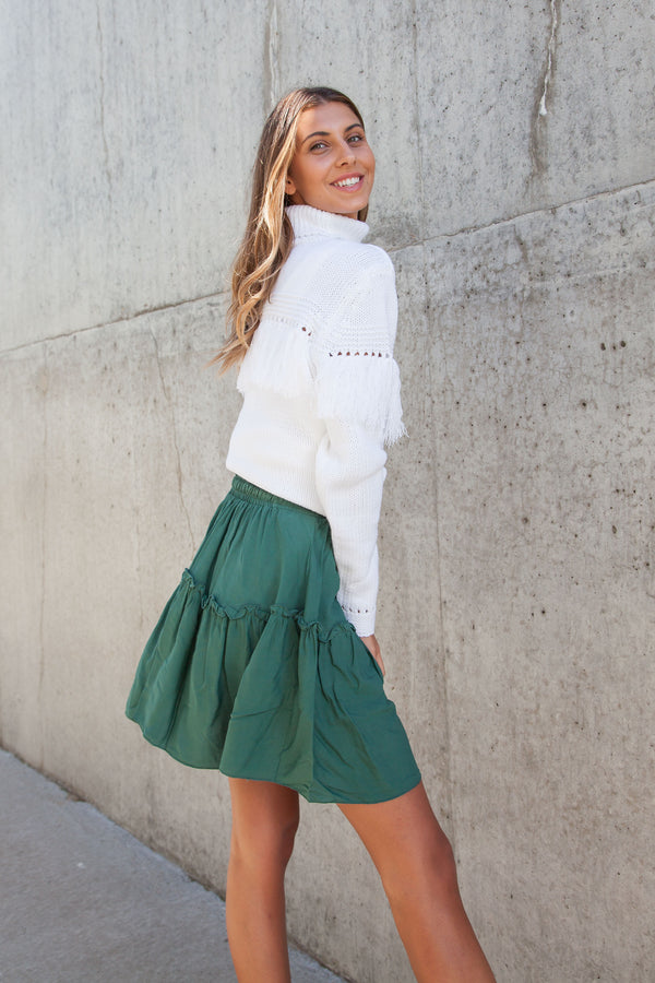 Khaki Green Frill Mini Skirt