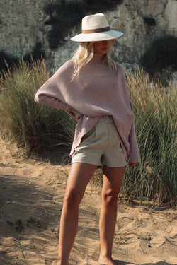 Soft Dusky Pink High Neck Jumper