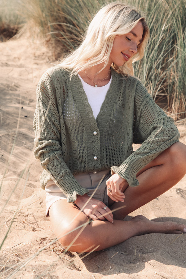 Khaki Crochet Knit Cardigan