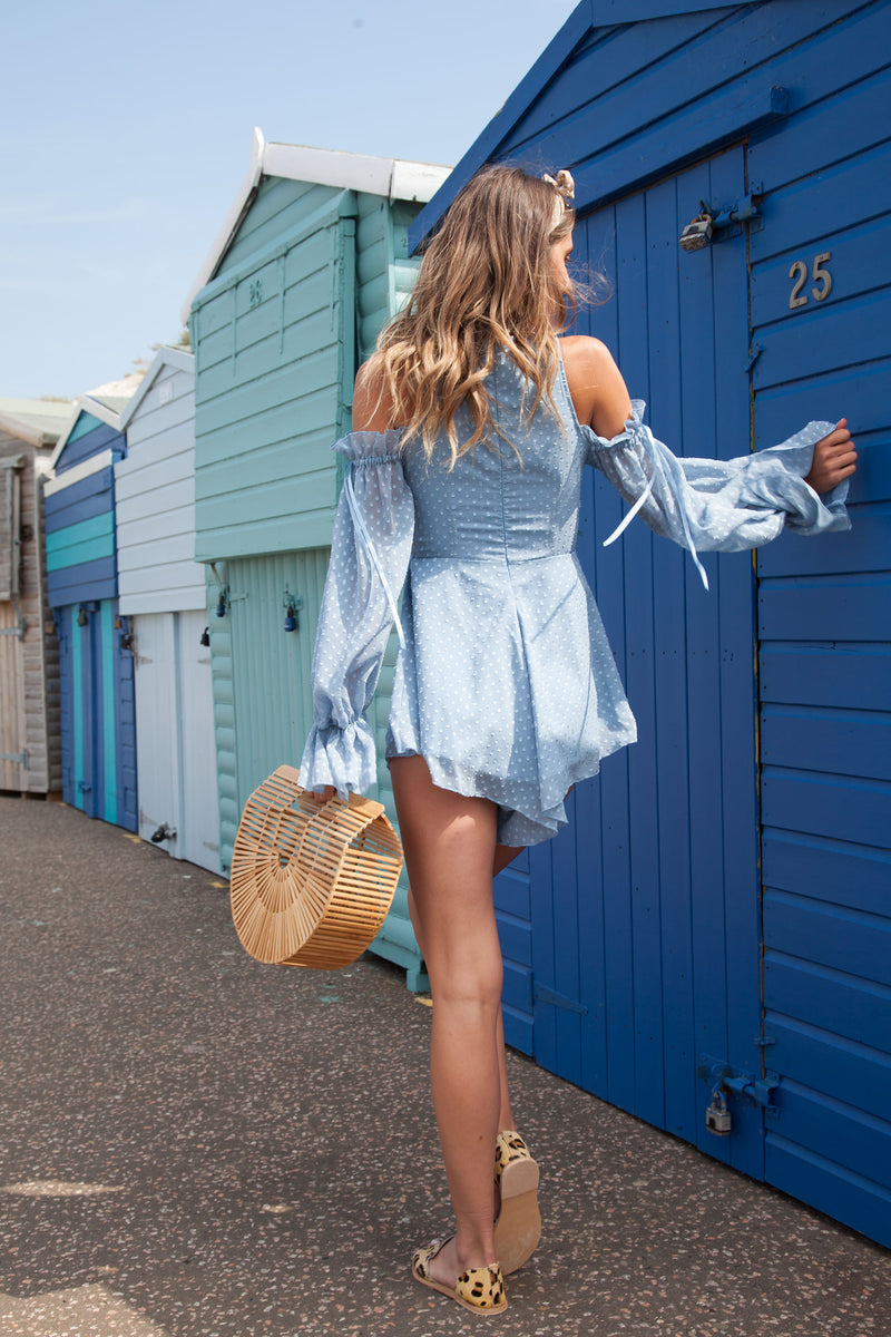 Blue Cold Shoulder Frill Playsuit