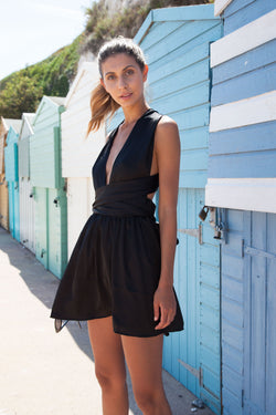 Black Satin Tie It Your Way Dress