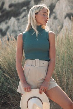Sage Green Ribbed High Neck Top