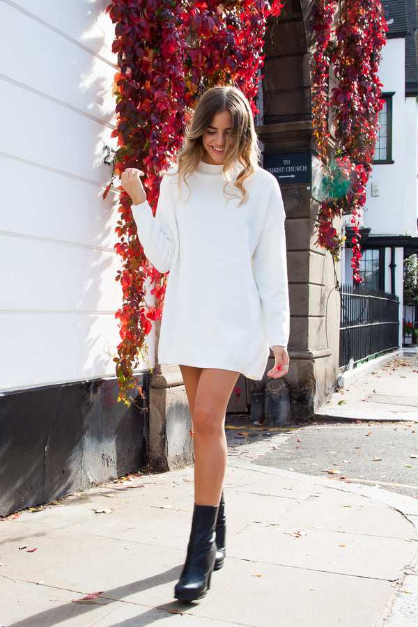 High Neck Longline Soft Knitted Jumper in Cream