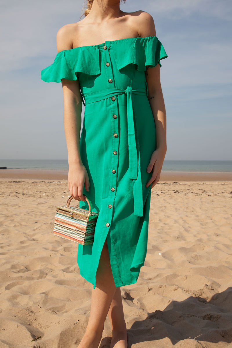 Green Linen Frill Off Shoulder Midi Dress