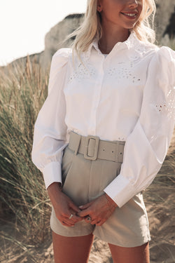 Long Sleeve White Broderie Blouse