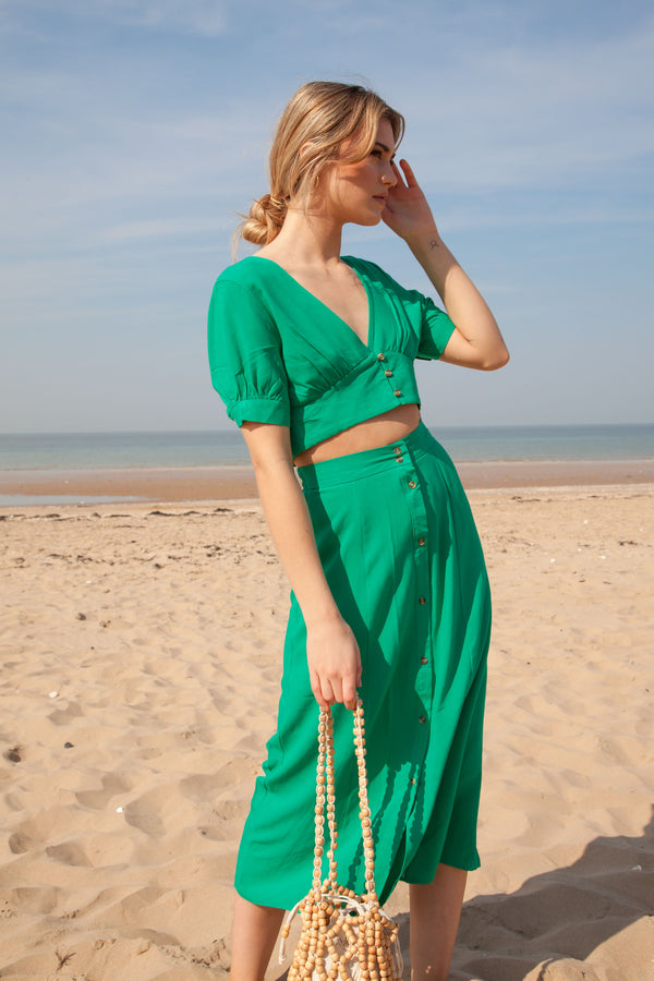 Green Linen Button Down Top + Midi Skirt Co-ord