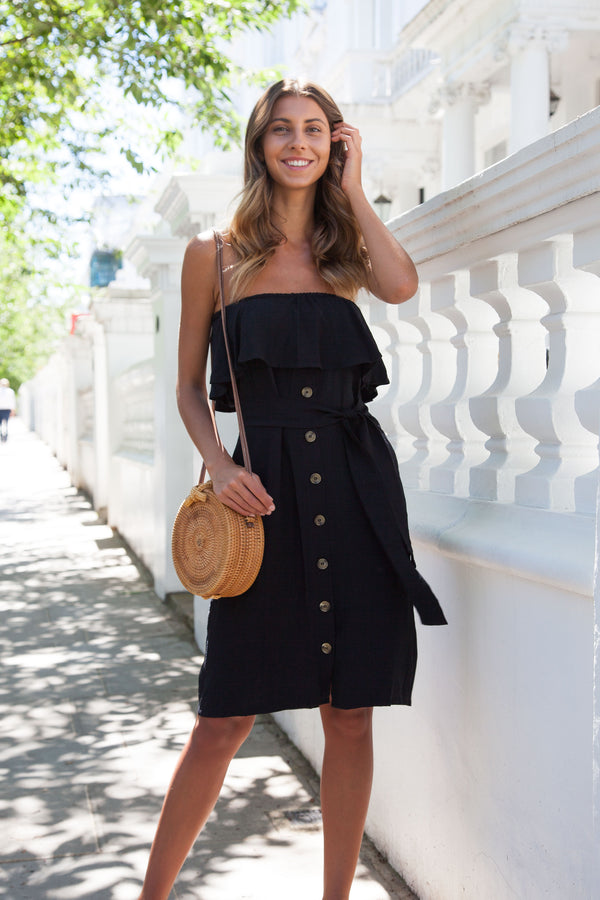 Off Shoulder Frill Button Down Midi in Black
