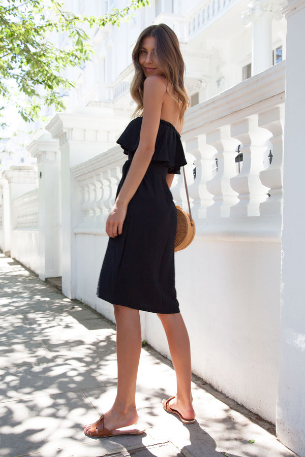 Off Shoulder Button Down Midi Dress in Black