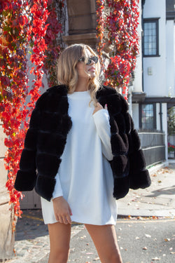 Luxe Faux Fur Panelled Jacket in Black