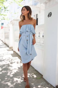 Bandeau Frill Button Down Midi Dress in Pale Blue