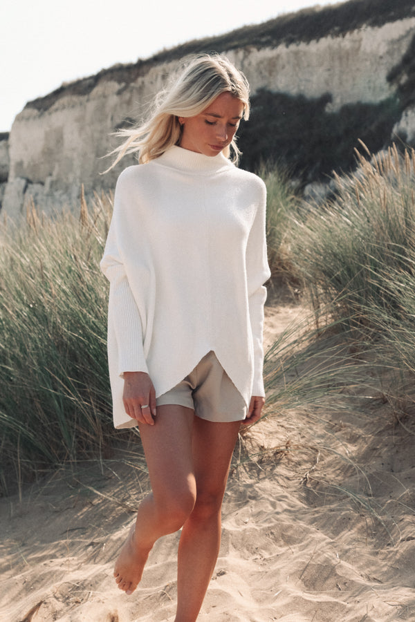 Soft Cream High Neck Jumper