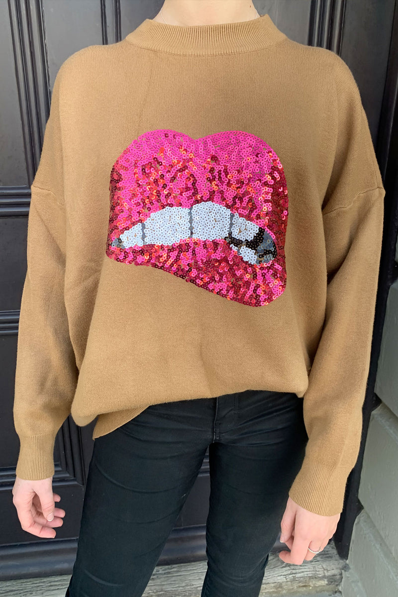 Sequin Lips Oversized Soft Jumper in Camel