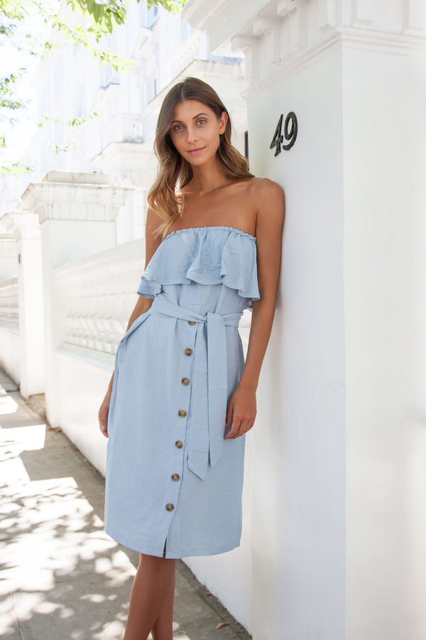 Off Shoulder Button Down Midi Dress in Pale Blue