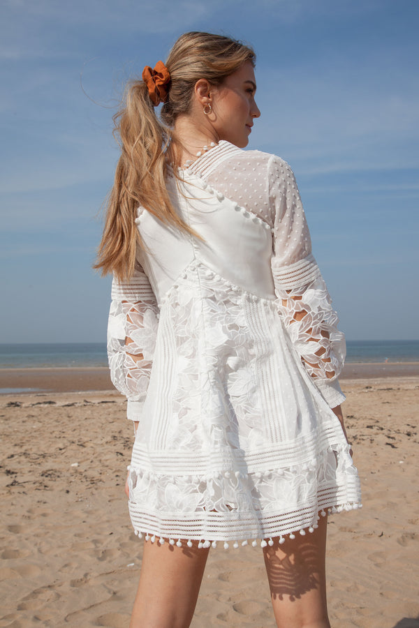 White Lace Pom Pom Trim Dress