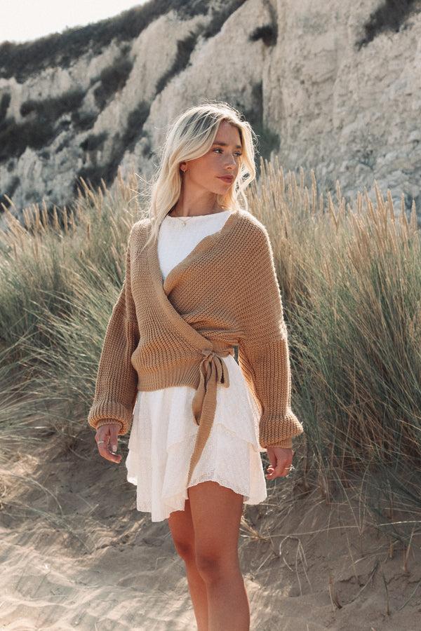 Camel Crop Tie Side Cardigan