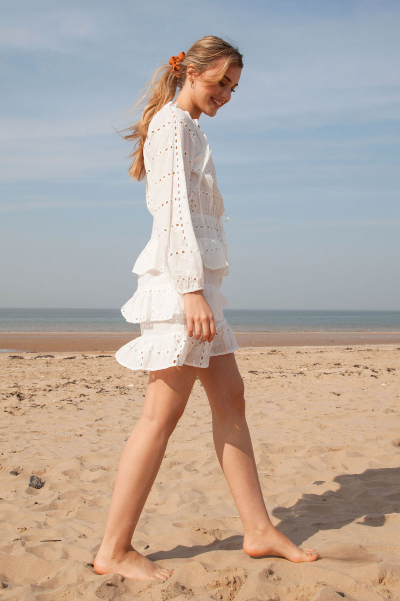 White Cotton Multi Frill Long Sleeve Dress