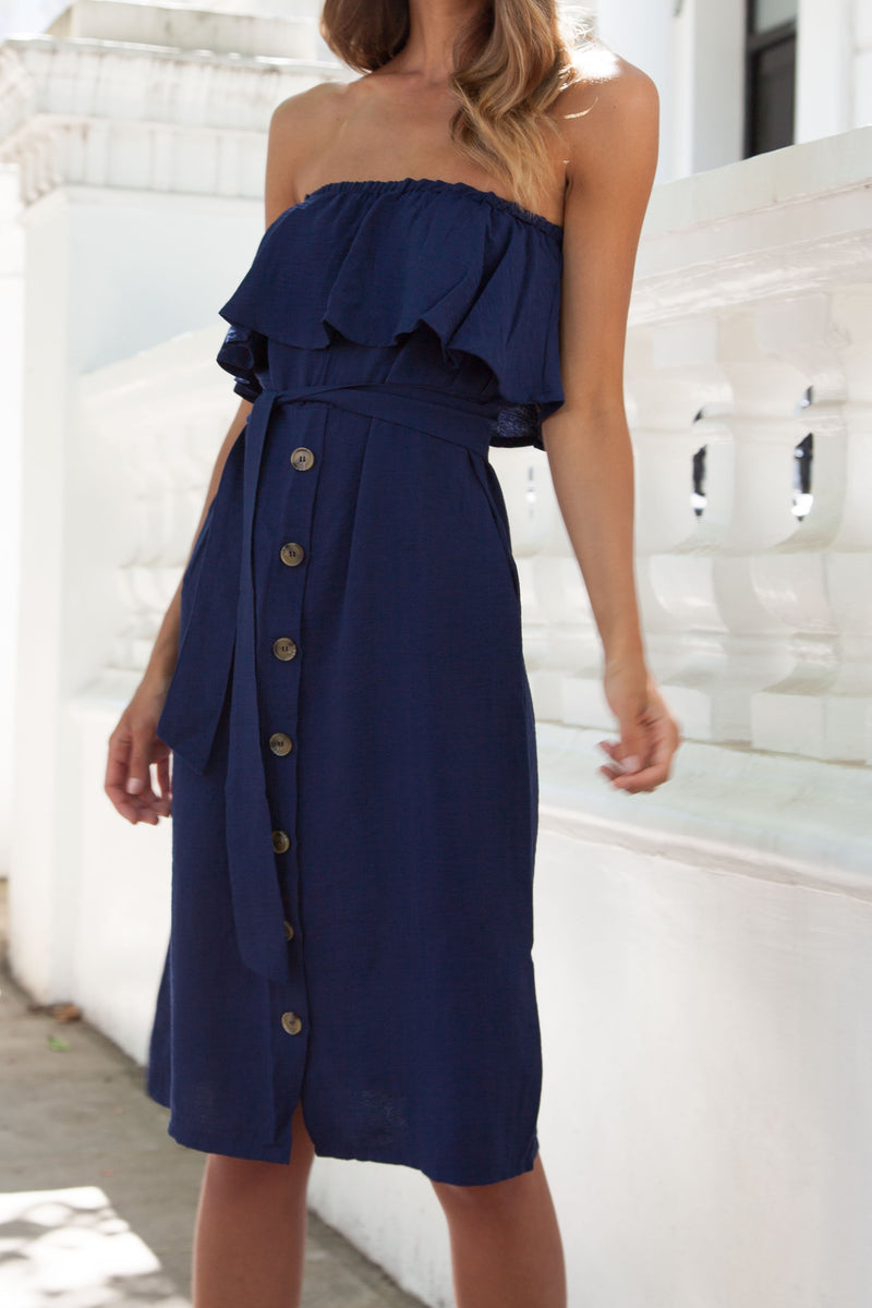 Bandeau Frill Button Down Midi Dress in Navy