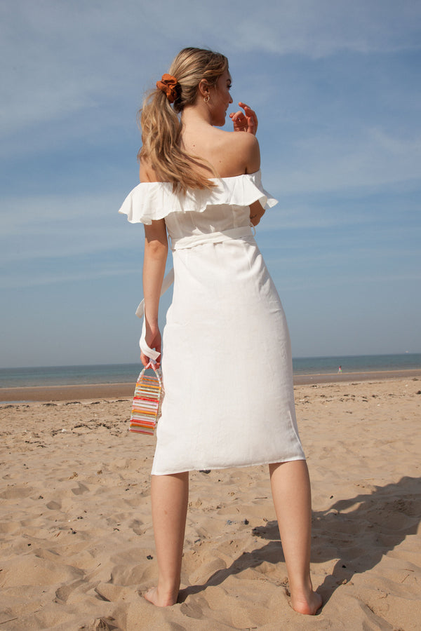 White Linen Frill Off Shoulder Midi Dress