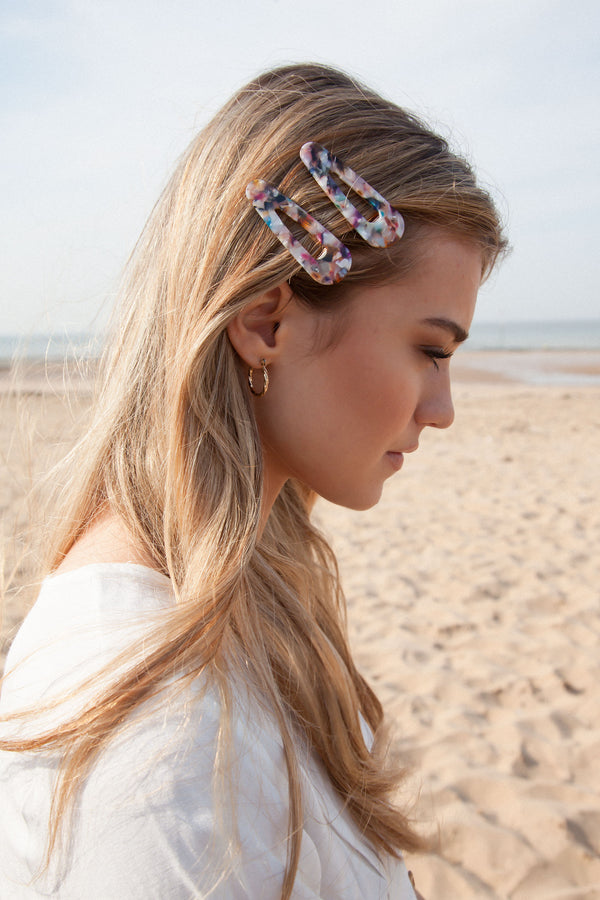 Marble Effect Hair Barrette