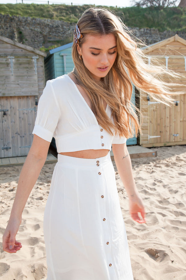 White Linen Button Down Top + Midi Skirt Co-ord