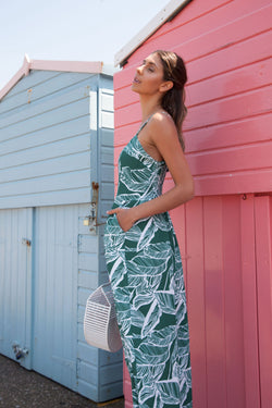Green Palm Leaf Cami Culotte Jumpsuit
