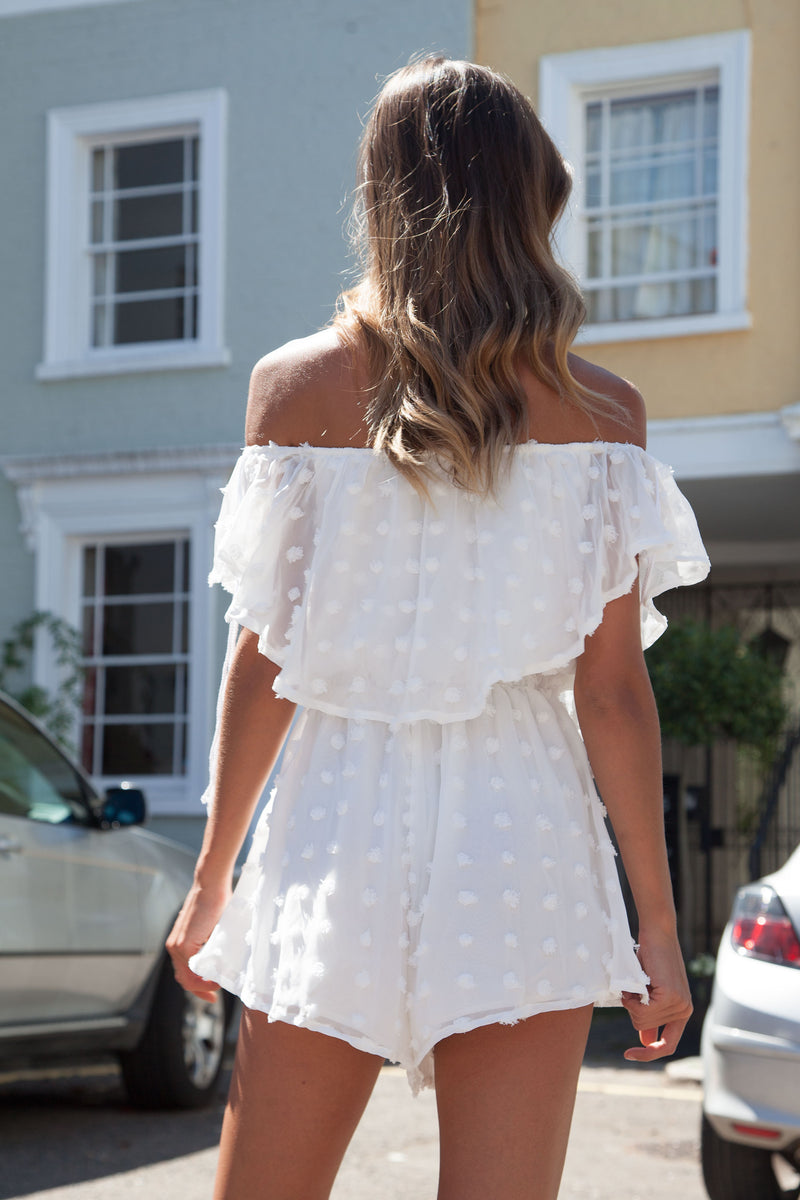 White Off Shoulder Textured Spot Playsuit