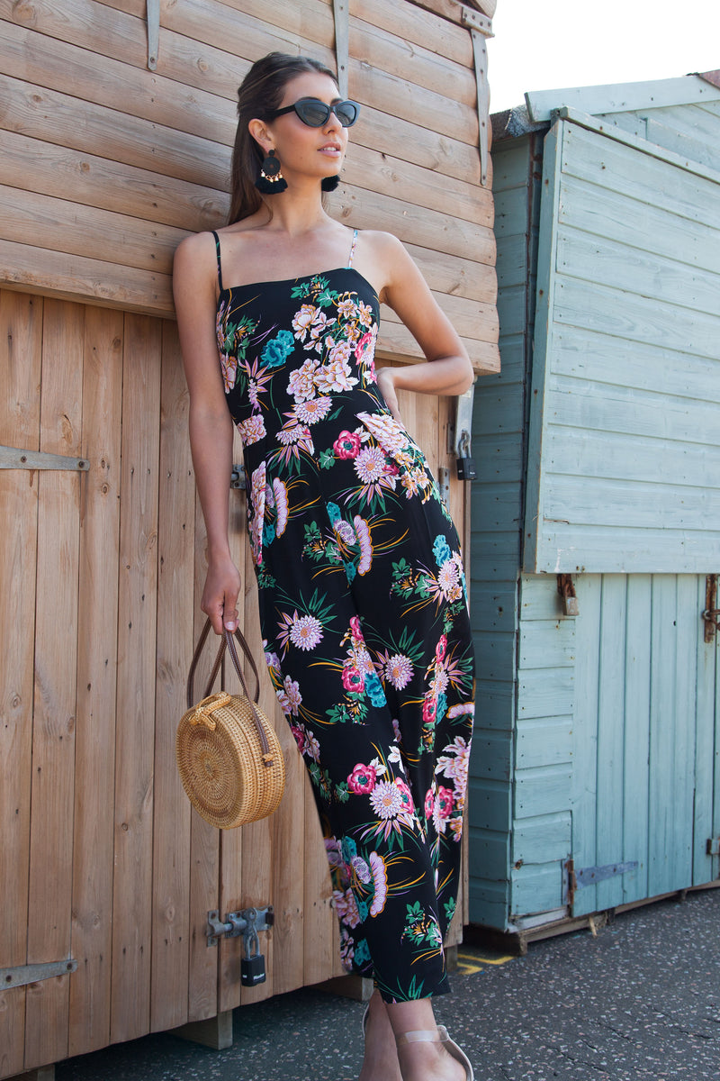 Tie Back Culotte Jumpsuit in Black/Floral
