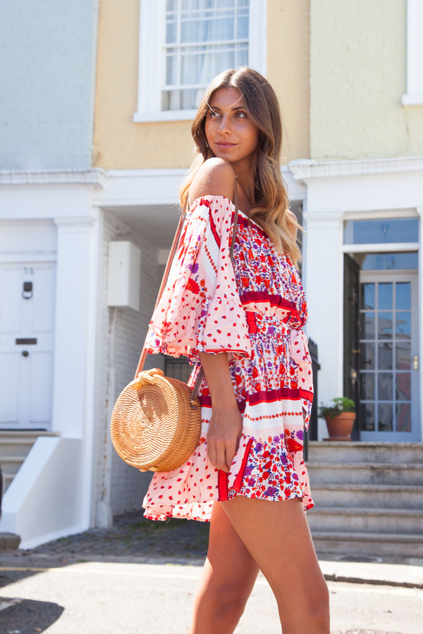 Pink/Red Off Shoulder Printed Boho Mini Dress