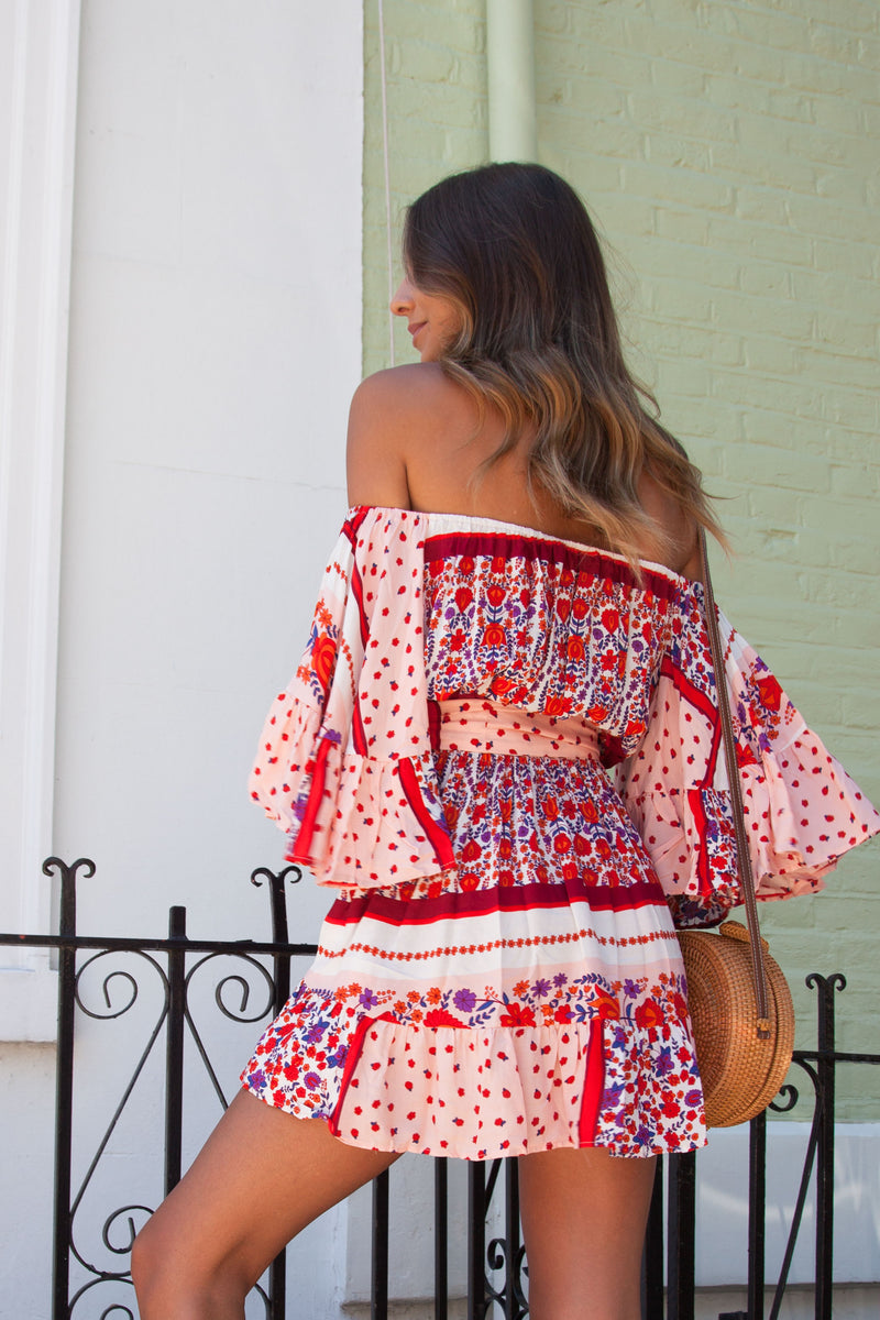 Off Shoulder Printed Boho Mini Dress
