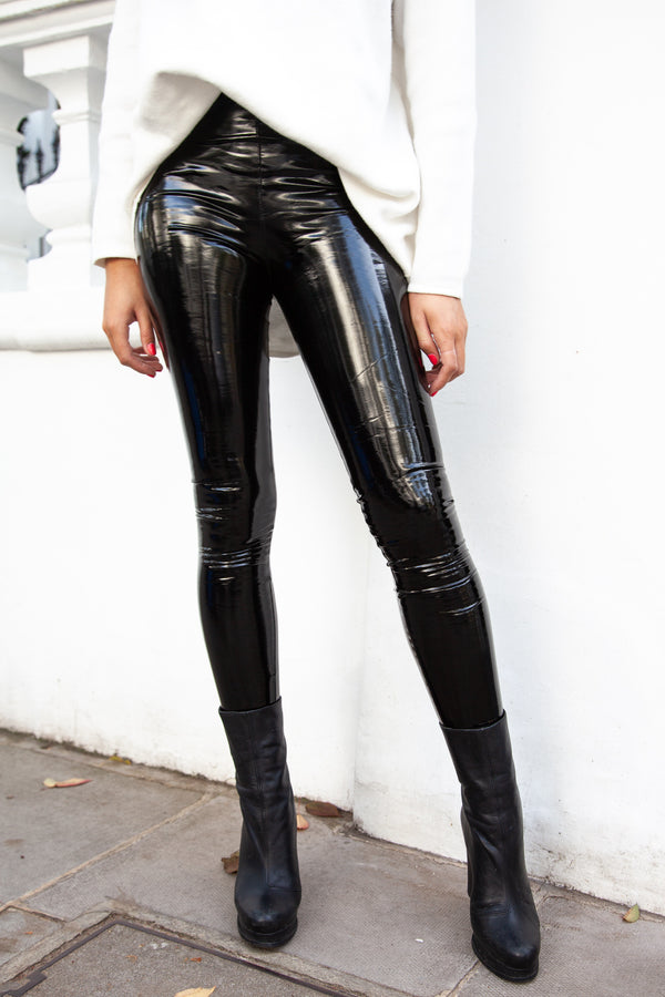Black Vinyl Leggings