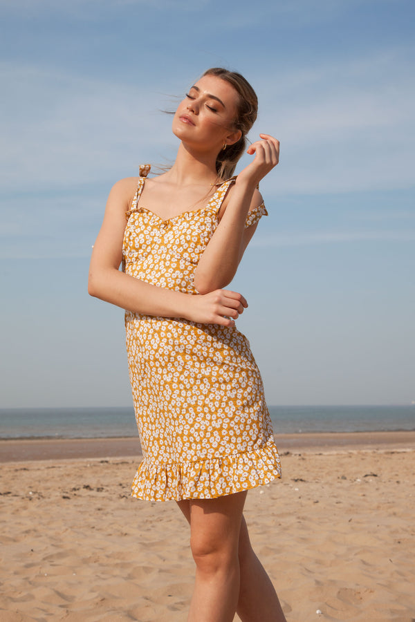 Tie Shoulder Ditsy Floral Mini Dress in Mustard