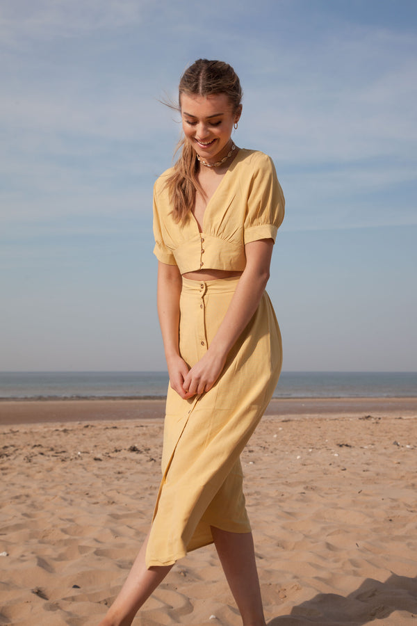 Dusky Yellow Linen Button Down Top + Midi Skirt Co-ord