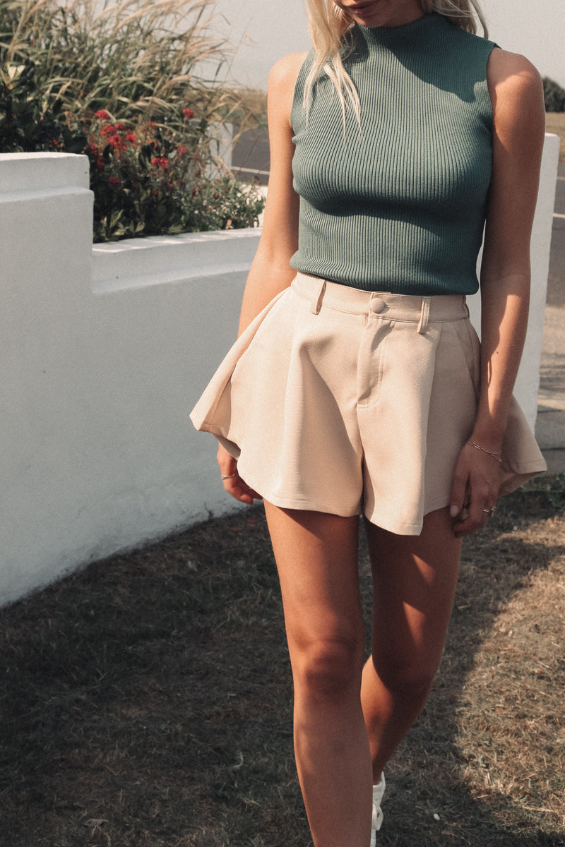 Beige Tailored Flare Shorts