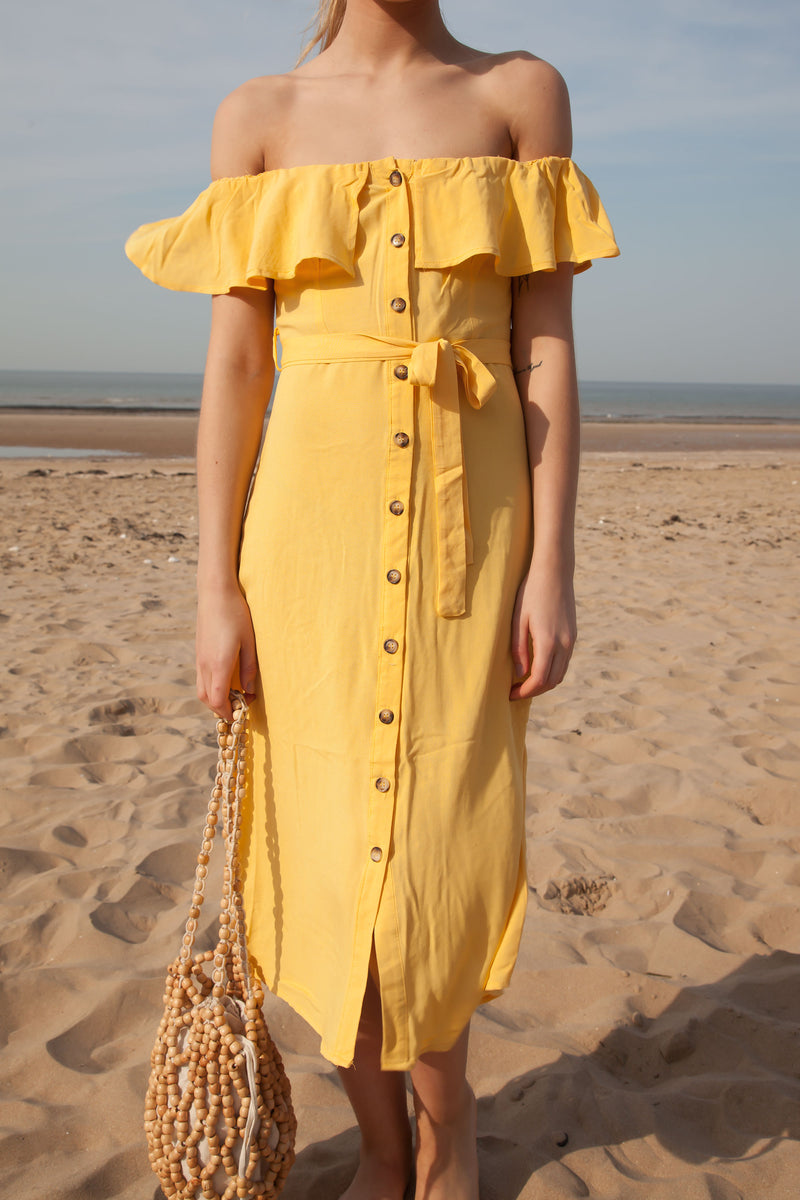 Bright Yellow Linen Frill Off Shoulder Midi Dress