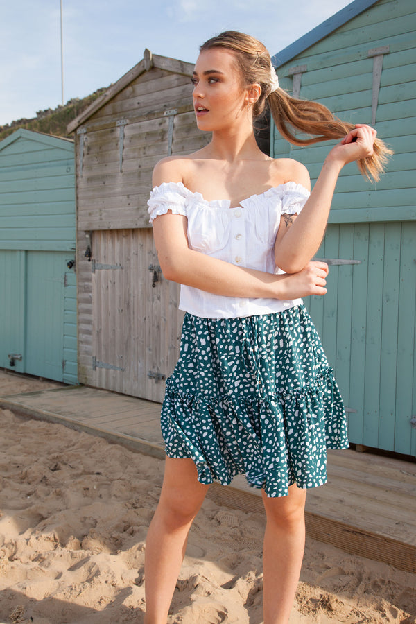 Emerald Green Spot Frill Mini Skirt