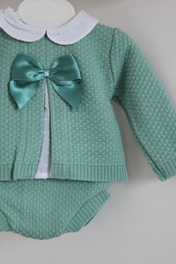 Sage Green Bow Knitted Two Piece