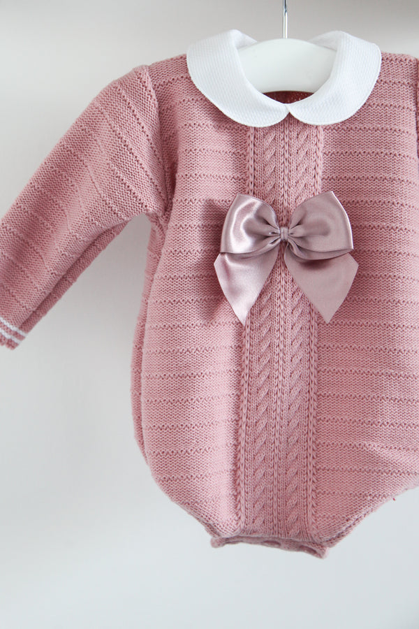 Dusky Pink Knitted Bow Romper