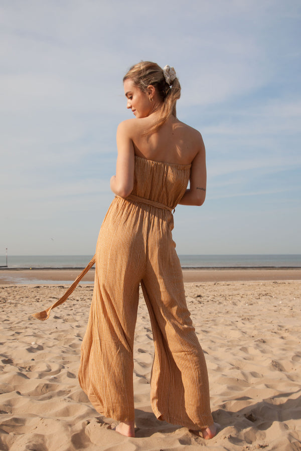 Bandeau Flare Jumpsuit in Mustard