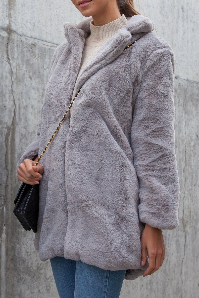 Ultra Soft Faux Fur Teddy Coat in Grey