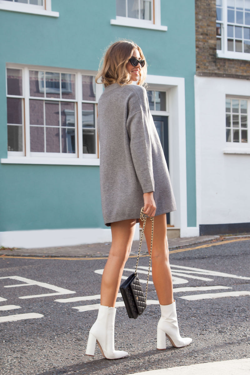 Longline Knitted Oversized Jumper in Grey
