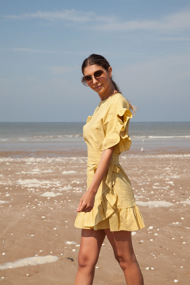 Frill Wrap Linen Dress in Dusky Yellow