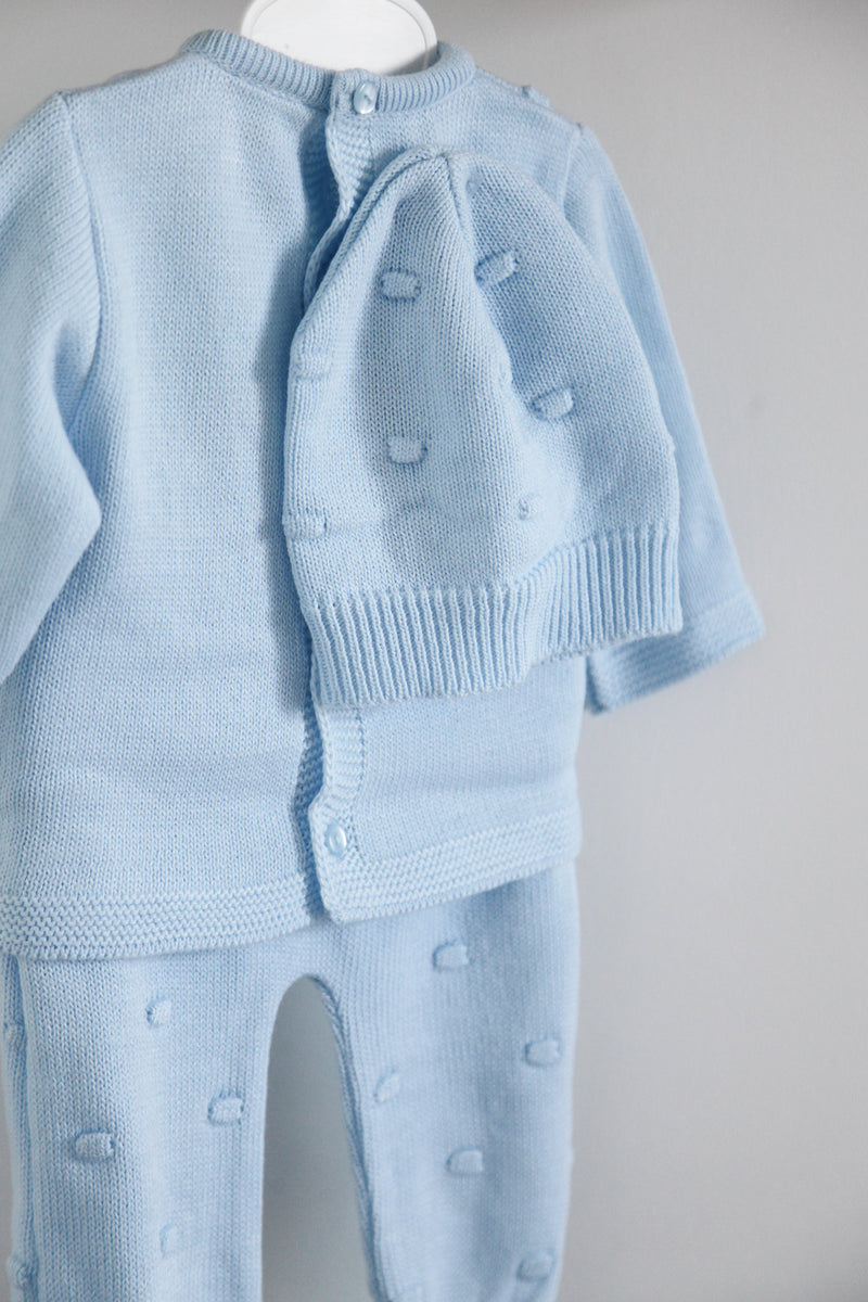 Pastel Blue Bobble Knitted 3 Piece Set
