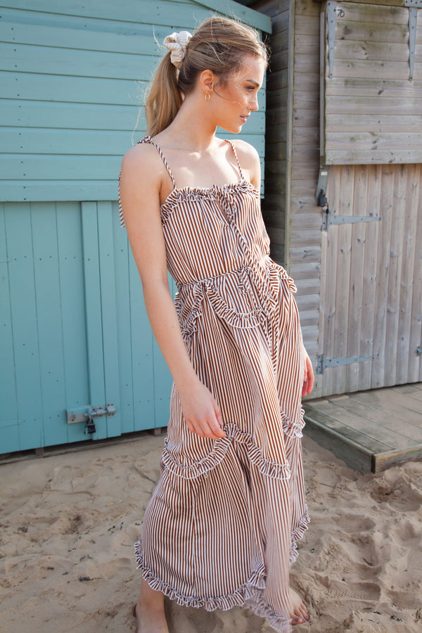 Brown Stripe Cami Maxi Dress