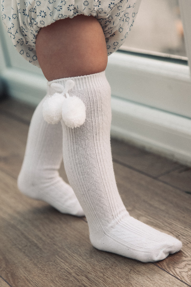 White Pom Pom Knee High Socks