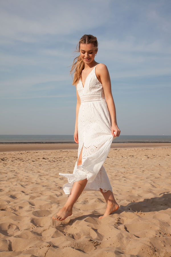 White Broderie Anglaise Cami Midi Dress